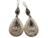 Silver Earrings, Lapis Black, Vintage Earrings, Kuchi Boho Gypsy, Kazakh, Kazakhstan, Afghan Jewelry, Bohemian, Statement, Ethnic Triba