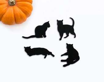 Black cat sillhouettes die cut embellishments set of 8