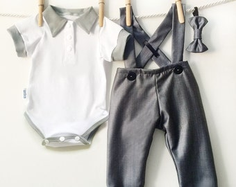 Gray Pinstripe Suiting Baby Boy Outfit, Boys Pinstripe Suit, Boy Dressy Outfit, Baby Suit, Baby Boy Dress Clothes, Cute Baby Boy Clothes
