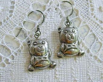 Sterling Silver Teddy Bear Pierced Earrings