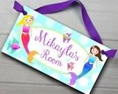 Kids Door Sign Mermaids Girls Ocean Bedroom Nursery Personalized Name DS0033
