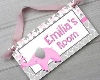 Pink Grey Elephant Personalized Girls Bedroom Baby Nursery DOOR SIGN Wall Art DS0440