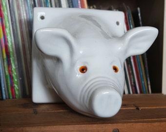 Cute Retro Ceramic Pig Head Mount Plaque