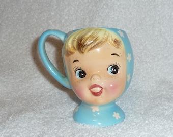 Vintage 1950s Napco Miss Cutie Pie Girl Mug Retro Kitchen