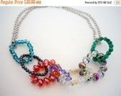 50% OFF CLEARANCE Multi Color Crystal and Stone Chain Style Necklace by Debbie Renee, Beaded Chain, Beaded Strand