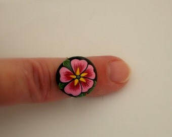 Fashion jewelry gift idea-silver adjustable botanical ring-pink-primrose blossom-Grandmother nana gift-painted rock-ooak 3D art painting