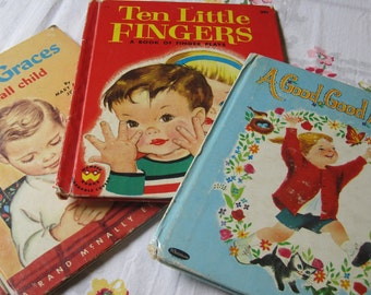 Three Sweet Vintage 1960s Picture Books Prayers Finger Plays and Poems