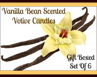 VANILLA BEAN Scented Votive Candles - Handmade Votive Candles - Highly Scented - Strong Scent - Gift Boxed - Hand Poured - Made In USA