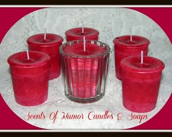 SHIRAZ WINE Scented Votive Candles - Gift Boxed Set Of 6  Handmade Candles - Mottled Paraffin Wax - Highly Scented - Hand Poured In USA