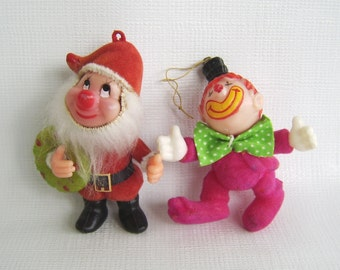 Vintage Ornaments, Christmas Ornaments, Santa Ornament, Clown Ornament, Funny Ornament, Holiday Decor, Vintage Tree, Flocked Ornaments