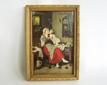 Vintage Print, Framed Print, Mother and Child, Print Under Glass, Mid Century, Sweet Print, Small Framed Print