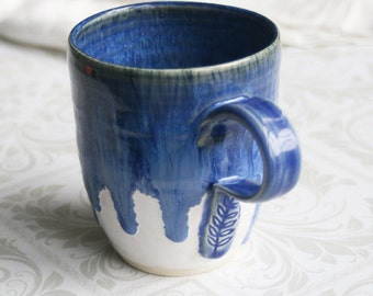 Large Coffee Mug in Dripping Shades of Blue over White Glaze Stoneware Pottery Coffee Cup Made in USA Ready to Ship