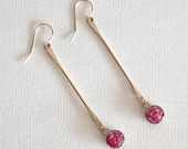 Long Earrings with Pink Paper Beads / Paper Jewelry / Gifts for Her / First Anniversary Gift / Sterling Silver or 14k Gold Filled