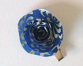 Navy and Off White Paper Rose Hair Clip / Paper Hair Accessories / Gifts for Her / Girls / Japanese Paper / Wedding Bridal Hair