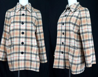 1960s Plaid Wool Jacket Dalton Button Collar Autumn Medium Car Coat Pea Coat 60s Fawn