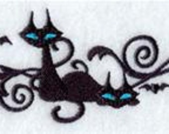embroidered black cat towel embroidered halloween towel embroidered flour sack hand towel - Halloween Bath Towels
