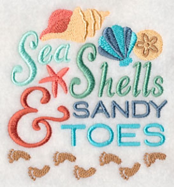 Embroidered Seashells Towel Sea Shells And Sandy Toes