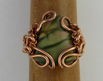 Copper wire wrapped Red Creek Jasper ring DTPD