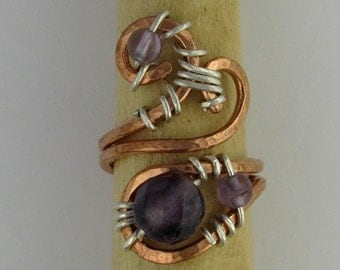 Amethyst copper and silver wire wrapped adjustable statement ring DTPD