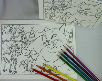 Jólakötturinn the Yule Cat Printable Download Adult Coloring Page Holiday Christmas Card by Carrie Michael DTPD