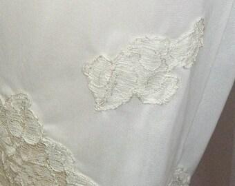 Spooktacular SALE Vintage Van Raalte Myth White Nylon Floral Long Tap Pants Pettipants Petti Panties Medium