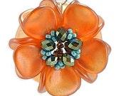 Orange, Green, and Turquoise Magnolia Pendant Necklace, Blaze