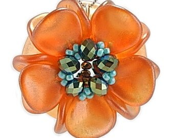Orange Pendant, Pendant Necklace, Magnolia Pendant, Statement Pendant, Gift for Her, Nature Jewelry