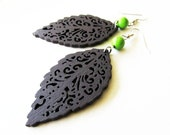 Dark Brown Wooden Leaf and Green Magnesite Stone Bead Earrings. Nature Hippie