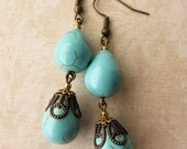 Double Turquoise Teardrop Earrings