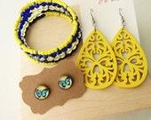Blue and Yellow Jewellery Gift Set - wooden earrings, memory bracelet, butterfly stud earrings