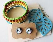 Jewellery Gift Set - memory bracelet, wooden earrings, stud earrings