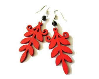 Red Fern Leaf and Black Glass Wooden Earrings