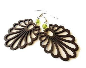 Dark Brown Wooden Fan Earrings with Peridot Green Glass Beads