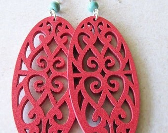 Pink Wooden Filigree and Turquoise Stone Beads
