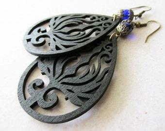 Black Wooden Phoenix Earrings with Cobalt Blue Czech Glass