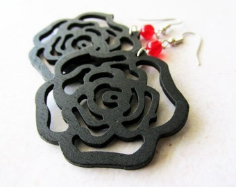 Black Wooden Rose and Red Glass Earrings