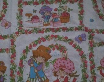 Vintage1980's Strawberry Shortcake Bedding Flat Sheet Twin Size