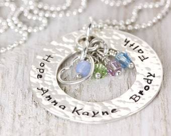 Circle of Love | Mommy Personalized Necklace | Family Name Necklace | Names and Birthstones | Grandma Wife Mom Daughter | Christina Guenther