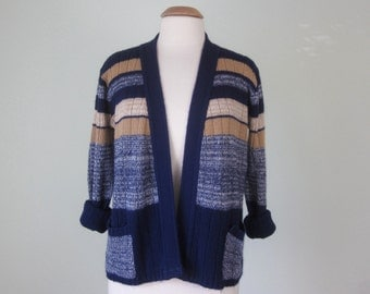 70s striped blue cream tan knit sweater cardigan pockets (m - l)