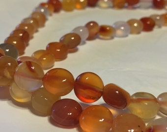 "Carnelian Puffy Coins 15"" strand"