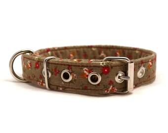 Khaki dog collar - Corduroy pet collar - Metal buckle collar - metal Khaki floral baby corduroy dog collar with metal buckle - S / M size
