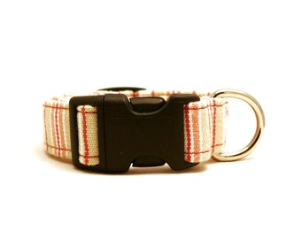 Light pink, beige and white striped adjustable XS / S / puppy dog collar