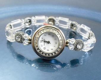 Stretchy Bracelet Watch - Petite Clear Rock Crystal Quartz Stretchy Watch with Swarovski Crystal Accents
