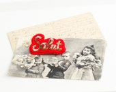 SALUT Gold French Red Felt Brooch