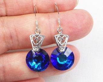 Swarovski Crystal Sterling Silver Earrings - Dangle Earrings - Gift For Her - Swarovski Crystals - Bermuda Blue