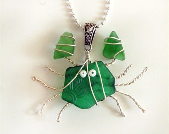 Green Sea Glass Crab Pendant and Necklace