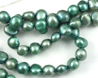natural PEARL beads in earthy moss green color. 14.5 inch strand. 6mm to 7mm size