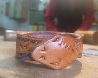 Leather Snake Bracelet: Ouroboros