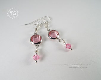 Swarovski Crystal Earrings - Pink Crystal Earrings - Swarovski Crystal Jewelry · Rose Crystal Earrings · Gift for Her