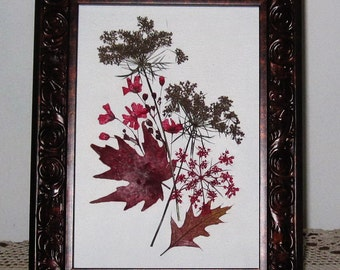Rustic autumn brown pressed flower frame
